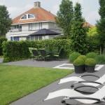 Moderne tuin met strakke lijnen